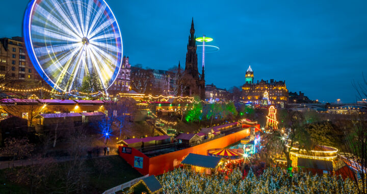 A view overlooking the Christmas Market in Edinburgh